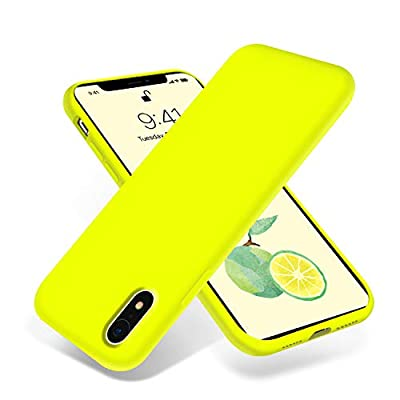 OTOFLY for iPhone XR Case, [Silky and Soft Touch Series] Premium Soft Silicone Rubber Full-Body Protective Bumper Case Compatible with Apple iPhone XR 6.1 inch - (Fluorescent Yellow)