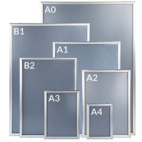 Jago® Klapprahmen - Aluminium, DIN A0, A1, A2, A3, A4, B1, B2, 25mm, Setwahl 1er-10er, Klicksystem, PVC Schutzfolie, Silber - Wechselrahmen, Bilderrahmen, Plakatrahmen