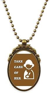 Care Women Injury Body Art Deco Gift Fashion Antique Necklace Vintage Bead Pendant Keychain