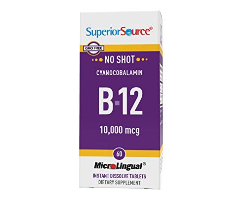 Superior Source No Shot Vitamin B12 Cyanocobalamin 10000 mcg, Quick Dissolve Sublingual Tablets, 60 Count, B12 Supplement to Increase Metabolism and Energy Production, Nervous System Support, Non-GMO