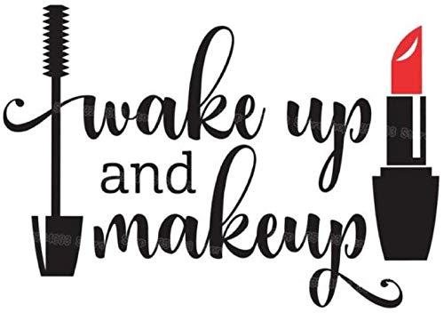 Wake Up And Makeup Vinyl Wandaufkleber Mädchen Badezimmerspiegel Vanity Decal Wasserdichter...