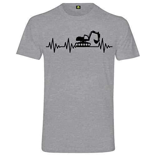 Herzschlag Bagger T-Shirt | EKG | Digger | Baustelle | Erde | Kran | Baumaschine Grau Meliert L
