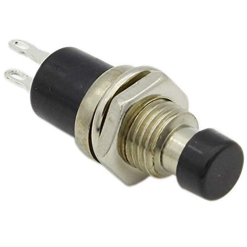 2 x 7 mm Interruptor de botón momentáneo de 2 pines mini botones ON/OFF con forma redonda Tensión nominal 3C/36V Color Negro