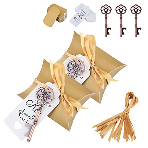 50 unidades de regalos de boda para abrebotellas con llave y etiquetas para regalos para fiestas, bodas y banquetes