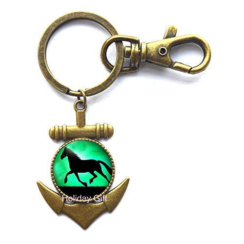 Black Horse Anchor Keychain Running Horse Key Ring Glass Animal Jewelry Anchor Keychain Key Ring.HTY-152