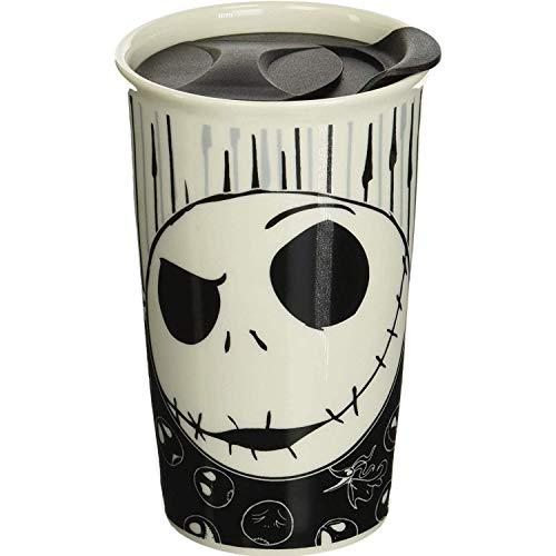 Silver Buffalo Disney Nightmare Before Christmas Jack with Bones Ceramic Travel Mug, 10-Ounces, black and white