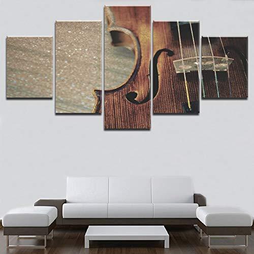 Quadro 5 Pezzi Stampa su Tela Quadro su tela Stampa artistica Strumenti musicali Corde in legno per violino Poster Musica classica retrò Pittura Decorazioni per la casa senza telaio PANDAFF