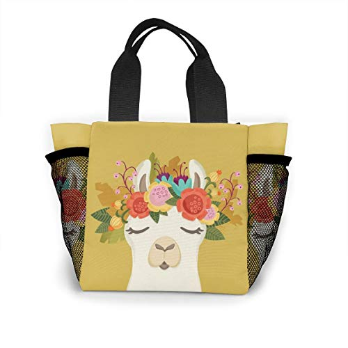 Llama With Garland Handbag Women Fashion Bag Reusable Shopping Bags Light Handbags High Capacity Gift Bags Food Storage Bags