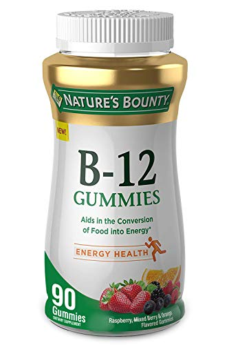 Nature's Bounty Vitamin B-12, 500mcg, 90 Gummies, Fruit Flavored Gummy Vitamin Supplements for...