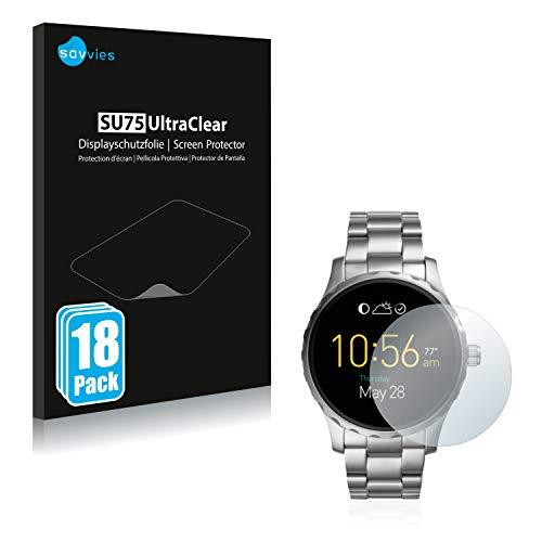 Savvies 18x Schutzfolie kompatibel mit Fossil Q Marshal (2.Gen) Bildschirmschutz-Folie Ultra-transparent