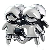 EMOSTAR A Little Boy and Girl Twin Charms, Antique 925 Sterling Silver Brother Sister Beads fit Pandora Charm Bracelet, Gifts for Parent/Mothers Day
