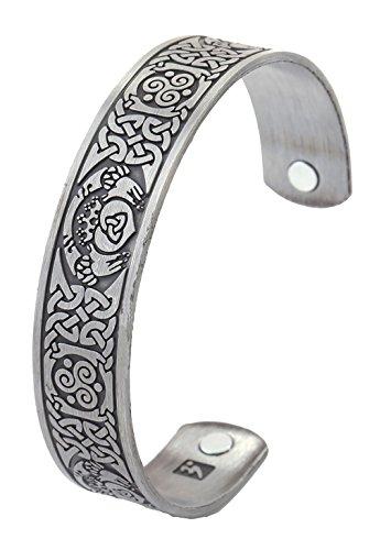 Dawapara Irisches Claddagh-Krone, Hände, Herz, keltischer Knoten, Triskele, magnetisches Manschetten-Armband für Herren und Damen, Geschenk, Schmuck