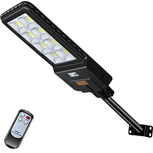 Kingwei 400W Réverbère Lampadaire Solaire Exterieur ,528LEDs lampadaire solaire avec Télécommande,étanche IP65 Projecteur LED Solaire Crépuscule à l'aube pour Jardin, Garage, Cour, Patio,basket