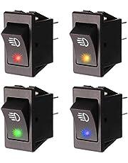 Gebildet 4 Piezas 12VDC/35A Coche LED Interruptor de Palanca Delantero de la Luz Antiniebla, 4 Pines ON/Off Interruptor Basculante Universal para Lámpara Luz Niebla (Rojo/Azul/Verde/Amarillo)