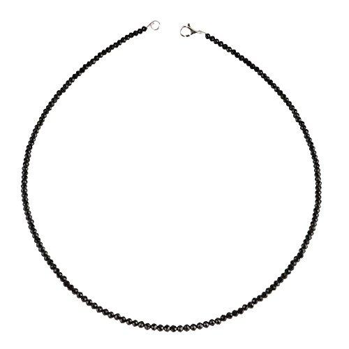 Kette Collier aus echtem Spinell facettiert funkelnd schwarz, 925 Silber, 48cm
