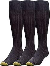 Gold Toe Men's Canterbury Over-The-Calf Dress Socks, 3-Pairs, Black, Large