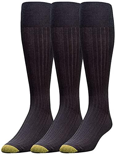 Gold Toe Men's Mercerized Cotton Over the Calf Dress Socks (Pack of 3), Black