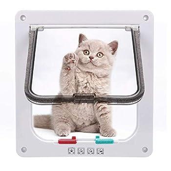 Sailnovo Chatière pour Chat Chatière magnétique avec verrou Rotatif à 4 Voies pour Chat (M: 16 x 15.7 x 5.5 cm, Blanc)