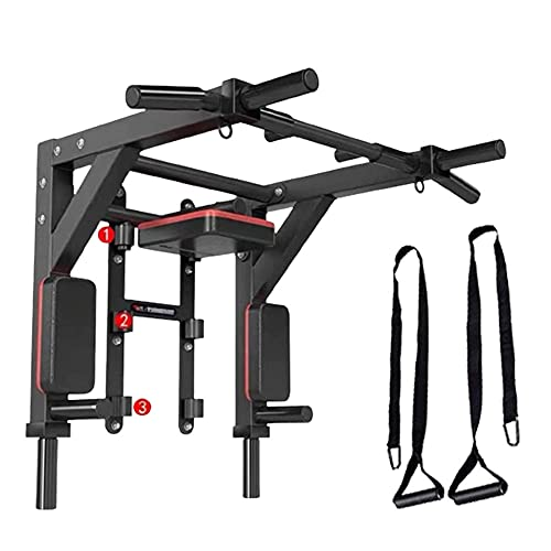HAKENO Barra de dominadas multifuncional para montaje en pared Dip Station 2 en 1 Pull Up Bar pared soporta hasta 500 kg