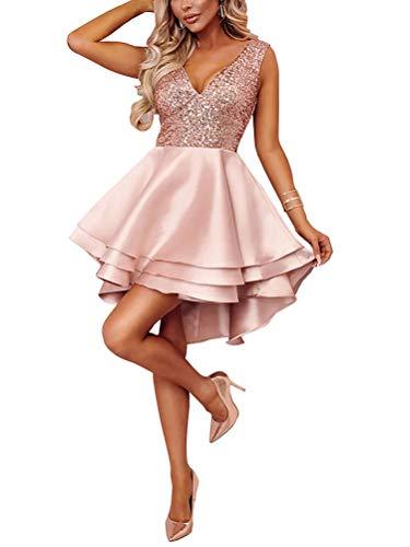 Minetom Damen Festlich Hochzeit Kleider Glänzend Pailletten V-Ausschnitt Ärmellos Prinzessin Tutu Cocktailkleid Partykleid Abendkleid Rosa DE 38