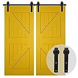 200CM/6.6FT Puerta de granero corredera estilo rústico puerta de granero corredera de madera para armario puerta granero herraje colgadocon guía rodamientos deslizantes, para puerta doble