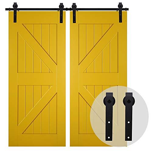 CCJH 200CM / 6.6FT Herraje Para Puerta Corredera Kit de granero Accesorio de armario con rodillo de riel para puerta doble