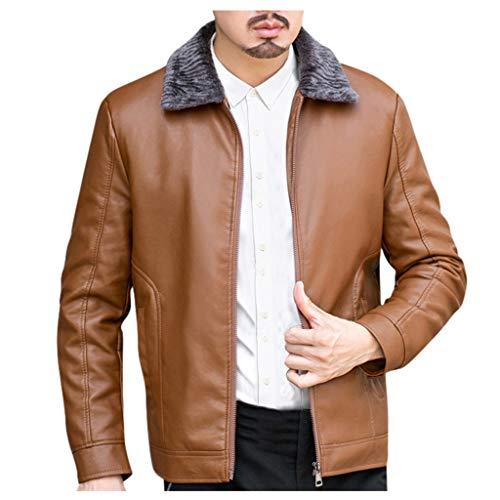 MAYOGO Herren Kunst-Lederjacke Zip Biker Jacke Motorradjacke Outdoor Jacke Männer Fluff Warm Gefüttert Übergangsjacke Business Outwear (Braun, XXXL)