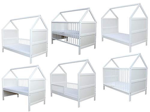 Babybett Kinderbett Juniorbett Bett Haus 140x70cm mit Matratze weiss 0 bis 6 Jahre