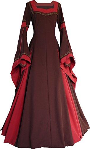 Dornbluth Damen Mittelalterkleid Guinevere Made in Germany (Braun-Ziegelrot, 48/50)