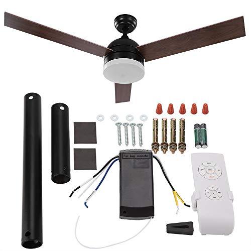 Ventilador de techo 2 en 1: ventilador de techo y luz de techo, ventilador de techo con control remoto con 3 aspas, potencia: 65 W, Be Quiet, ventilador de techo de aleación de aluminio(negro)