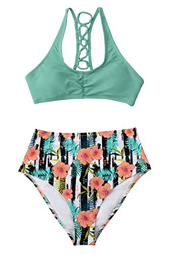 CUPSHE Damen Bikini Set Kreuzschnürung Raffung Bikini Blumenmuster High Waist Bademode Zweiteiliger Badeanzug Mintgrün S