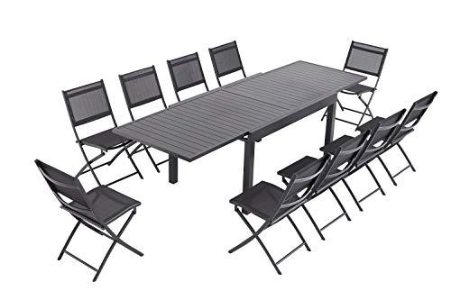 Laxllent - Mesa de jardín extensible (135/270 cm, aluminio + 10 sillas plegables de textileno para terraza y jardín, color negro