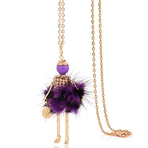 WDBUN Collar Colgante Collar de Cristal púrpura para Mujer Gran Colgante y Collar de Cadena Larga Gargantilla Femenina joyería Fina Regalo de Fiesta de cumpleaños de Navidad de Halloween