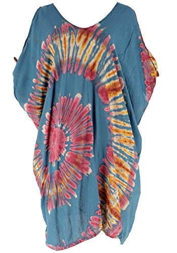 Guru-Shop Plus Size Batik Kaftan, Strandkleid, Tunika für Starke Frauen, Damen, Petrol, Synthetisch, Size:44, Kurze Kleider Alternative Bekleidung