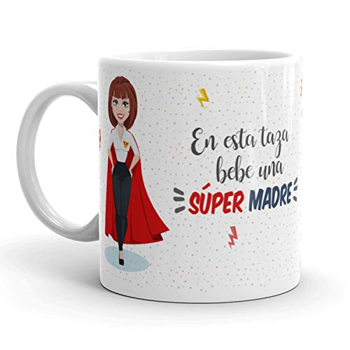 Kembilove Taza de Café para Madre – Aquí Bebe una Super Madre – Taza...