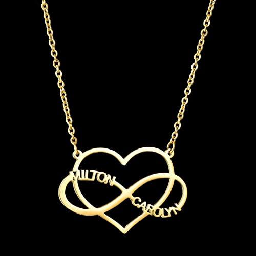 MIKUAU Collar Collares con Letras Personalizadas, Cadena de joyería Personalizada, Colgante, Nombre, Collar de Oro para Mujeres, Regalos de Acero Inoxidable