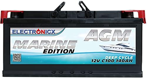 AGM Batterie 12v 140Ah Electronicx Marine Edition Solarbatterie 12v akku 12v Solar Batterien Versorgungsbatterie 12v Wohnwagen Batterie Wohnmobil Solar Akku Bootsbatterie Mover Batterie 140 Ah