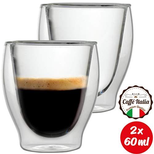 Caffé Italia Milano 2 x 60 ml Doppelwand-Thermo-Gläser - für Espresso Tee Heiß- und Kaltgetränke - spülmaschinengeeignet