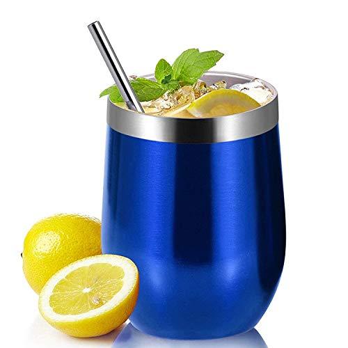 PreVino Edelstahl Isolierbecher (blau), Thermo-Becher, Wein-Glas to go, Reisebecher & Picknickbecher mit Deckel für Kaffee, Tee (350ml)