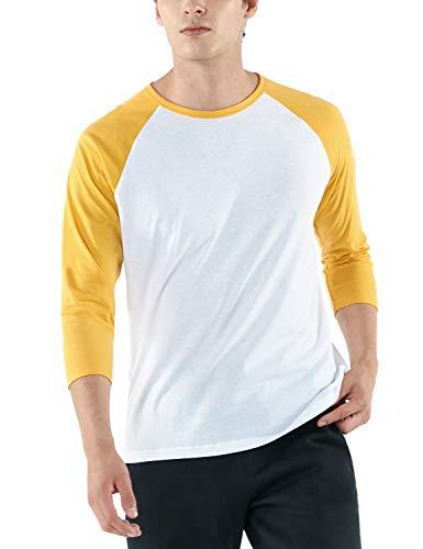 TSLA Men's 3/4 Sleeve Baseball Shirts, Casual Dynamic Cotton Raglan T Shirts, Athletic Sports Jersey Shirt Top, Dyna Cotton 3/4 Sleeve(mts57) - White \u0026amp; Yellow, X-Large