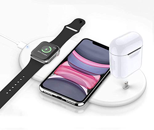 Wireless Charger,3 in 1 Fast Charging Pad Station Stand for Apple Watch iWatch 5 4 3 2 1, Airpods/Airpods Pro iPhone 11/11 Pro Max X XS XR 8 Qi-Enabled Devices Fast Charging Dock Station