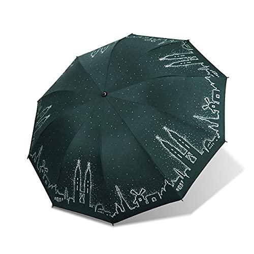 DJMJHG Paraguas Fuerte de protección Solar UV de Diez Huesos a Prueba de Viento Parasol para Mujer Uso Doble Plegable,2