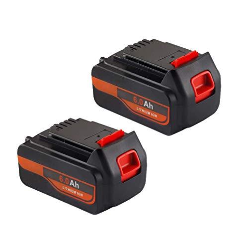 2Pack 20V 6.0Ah LBXR20 Battery for Black and Decker 20V Lithium ion Battery LBX4020 LBXR20-OPE LB20 LBX20 LBX4020 LB2X4020-OPE