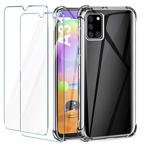 Leathlux Cover Compatibile con Samsung Galaxy A31 Trasparente con 2 Pellicola Vetro Temperato, Custodia Silicone Morbido Protettivo TPU Antiurto Bumper Cover