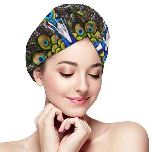 XBFHG Enveloppes De Serviette De Cheveux en Microfibre pour Les FemmesCapuchon De Cheveux Secs Rapides avec Bouton - Bleu Animal Paon dans Le Zoo De Thaïlande Brun Exotique Belle