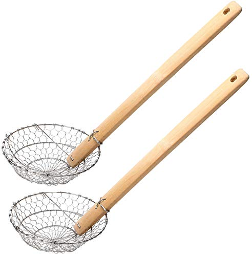 Lawei 2 pack Spider Strainer with Natural Bamboo Handle - 5 Inch Food Cooking Skimmer Spiral Mesh Basket, Hand Made