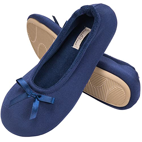 EverFoams Ladies' Cosy Satin Lightweight Ballerina Slippers Comfortable Memory Foam Ballet Flats with Anti-Skid Outsloe Navy Blue 5/6 UK