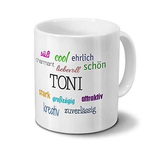 printplanet Tasse mit Namen Toni - Positive Eigenschaften von Toni - Namenstasse, Kaffeebecher, Mug, Becher, Kaffeetasse - Farbe Weiß