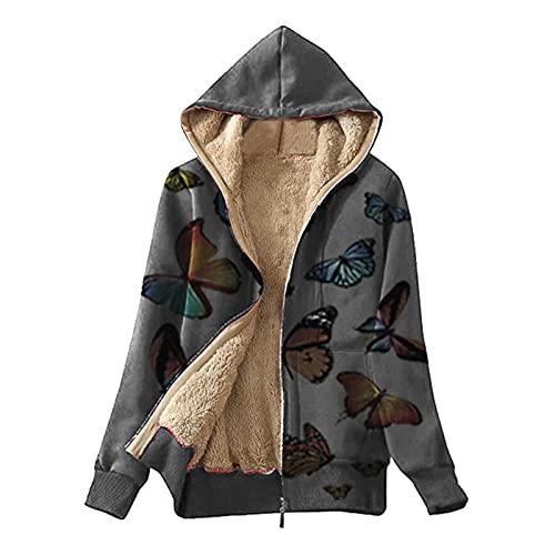 Abrigos de invierno para las mujeres caliente mariposa impresión cremallera polar sudadera con capucha abrigo chaqueta, verde, XL