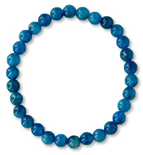 Taddart Minerals – Pulsera azul de la piedra preciosa natural Apatit con bolas de 6 mm en hilo de nailon elástico – hecha a mano.